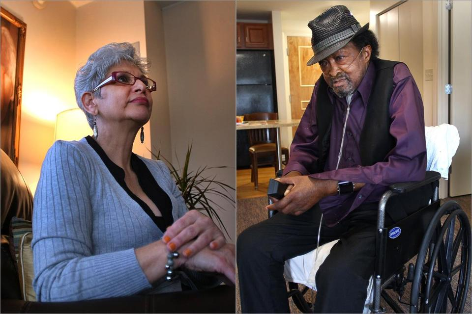Liliam Alvarez (left) became homeless after her husband died and she lost her job. Marion Davis, 71, cannot stay in a shelter because he uses an oxygen tank.
