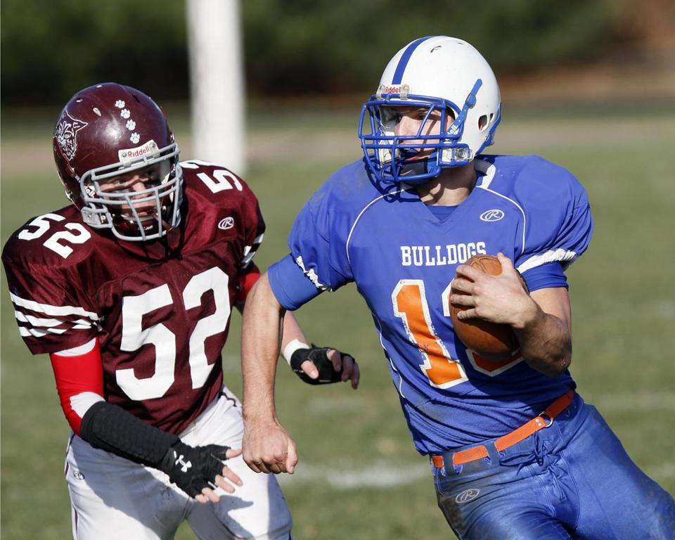Holbrook High running back Ben Riordan broke past West Bridgewater linebacker Cameron O'Reilly on his way to the first score of the Thanksgiving football game in West Bridgewater.