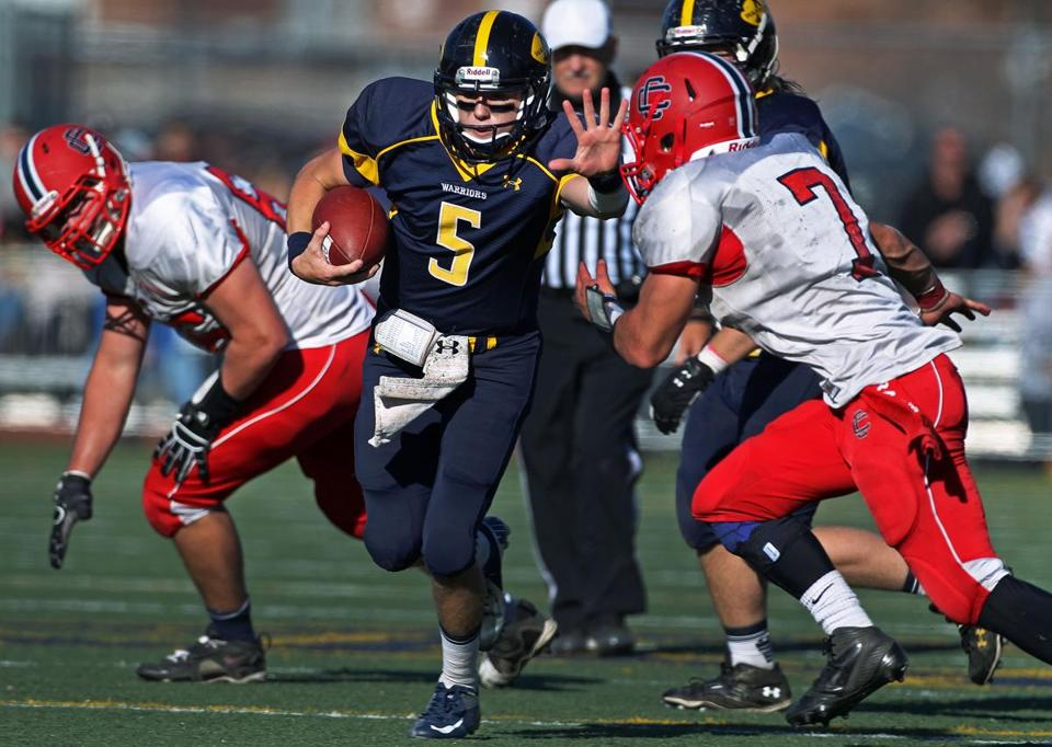 Quarterback CJ Scarpa (5) and Andover will play St. John's Prep in a Division 1 playoff game.