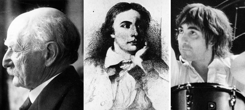 The author paraphrases Yeats to size up Thomas Hardy (left), uses Keats (middle) to attack Paul Auster's work, but has high praise for the Who's drummer Keith Moon (right).