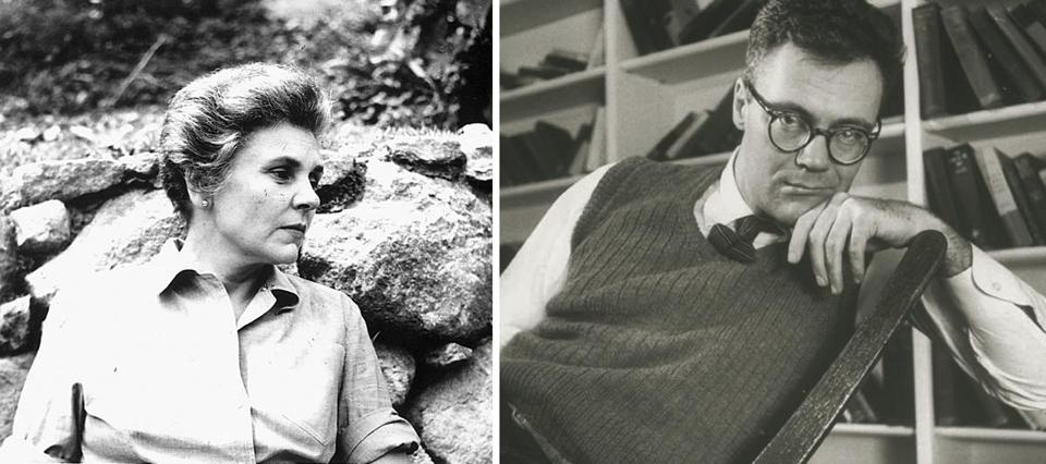 Elizabeth Bishop in Brazil in an undated photo (left). Robert Lowell at his home in 1957 (right).