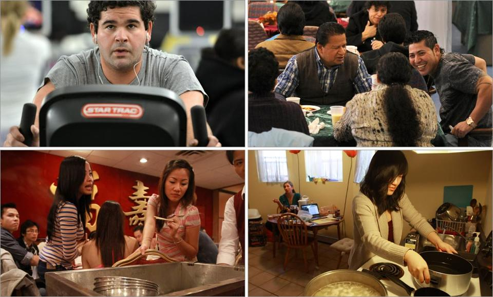 Clockwise from top, left: Scott Crasnick, 24, put in time working out at Boston Sports Club,  Daniel Ramirez laughed with volunteer Vilbur Vilaltoro at a dinner at East Boston's Sacred Heart Parish,  Torie Kim cooked up a meal for her roommates and friends at her Cambridge home, and  Tracy and Kayla Nguyen of Worcester joined their family for dim sum.
