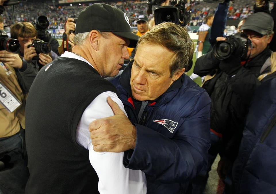 Rex Ryan greeted Bill Belichick after the Jets' loss.