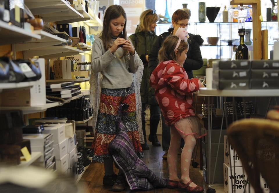 Sisters Addie and Margot Kelsey went shopping on Saturday at Abodeon, a boutique in Cambridge.