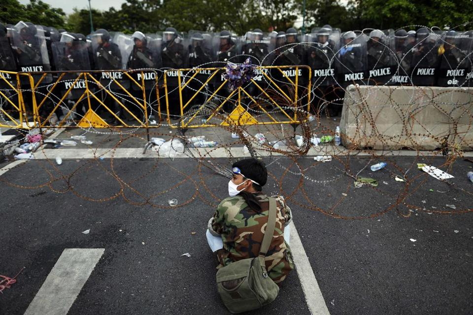 Riot police ringed an area in Bangkok where antigovernment protesters rallied Saturday.