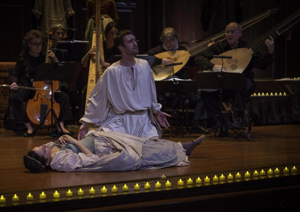 "Mireille Asselin (Euridice) and Aaron Sheehan (Orfeo) in Monteverdi's ""Orfeo"" with the Boston Early Musica Festival's Chamber Ensemble at Jordan Hall."