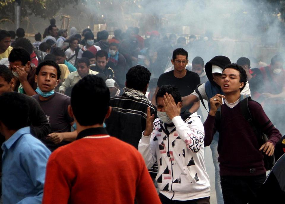 Egyptian protesters clashed with security forces near Tahrir Square in Cairo.