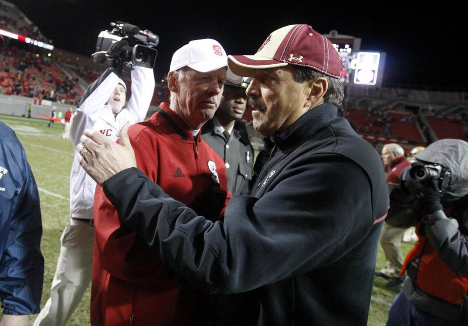 Frank Spaziani met with N.C. State coach Tom O'Brien after BC's season-ending loss to the Wolfpack.