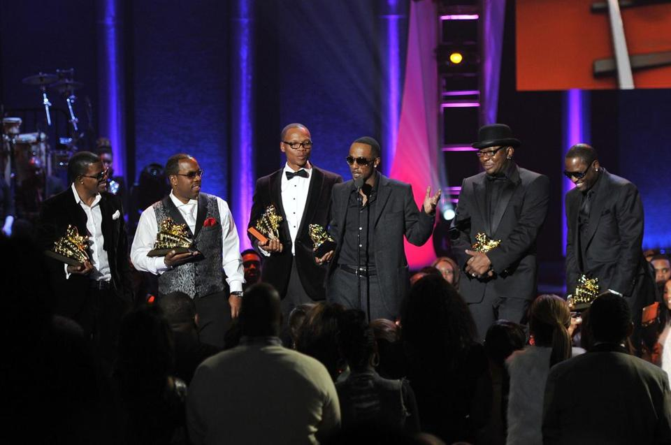 From left: Ricky Bell, Michael Bivens, Ronnie Devoe, Ralph Tresvant, Bobby Brown, and Johnny Gill accept the award in Las Vegas.