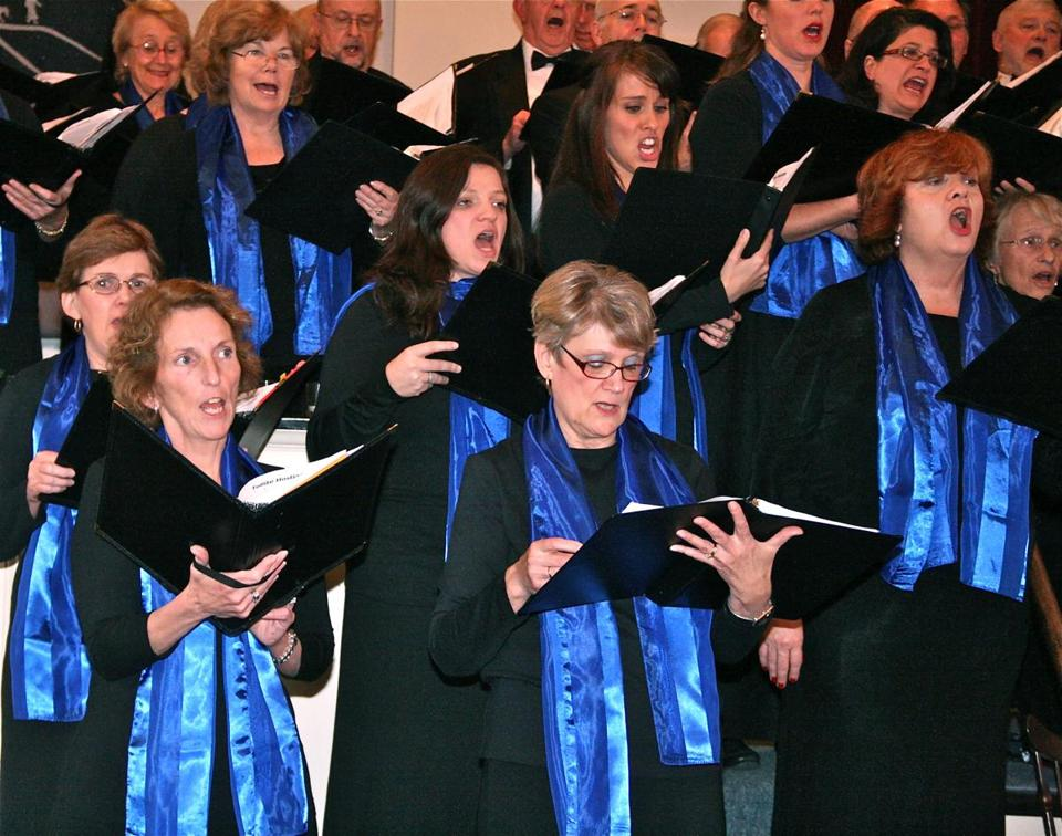 The Pilgrim Festival Chorus (left) will perform in Plymouth, while Community Voices Too!, a chorus for adults with developmental delays, will sing in Hingham.