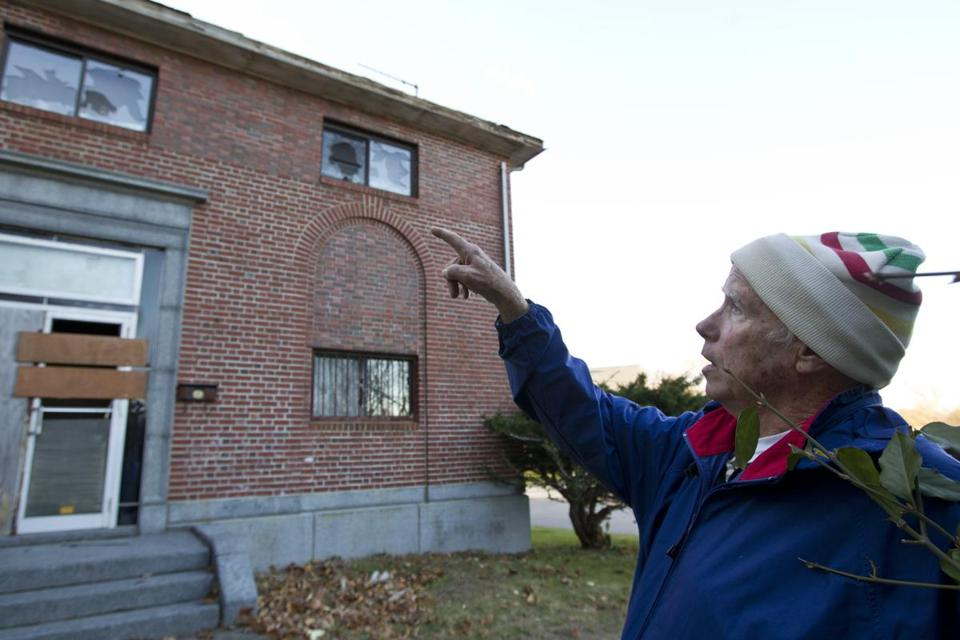 Donald Hodgdon, director of the museum that once occupied the Incline Compressor Building, reviewed damage done by vandals to the vacant building last fall.