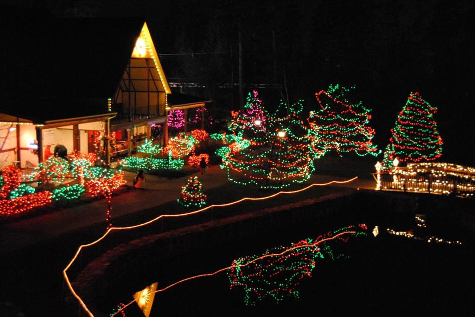 In Jefferson, N.H., the display around Humbug Pond at Santa's Village, whose 13 acres are lighted for the season.