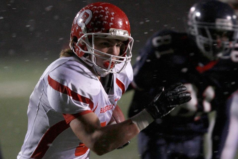 Barnstable running back Hayden Murphy made like lightning in the snow.