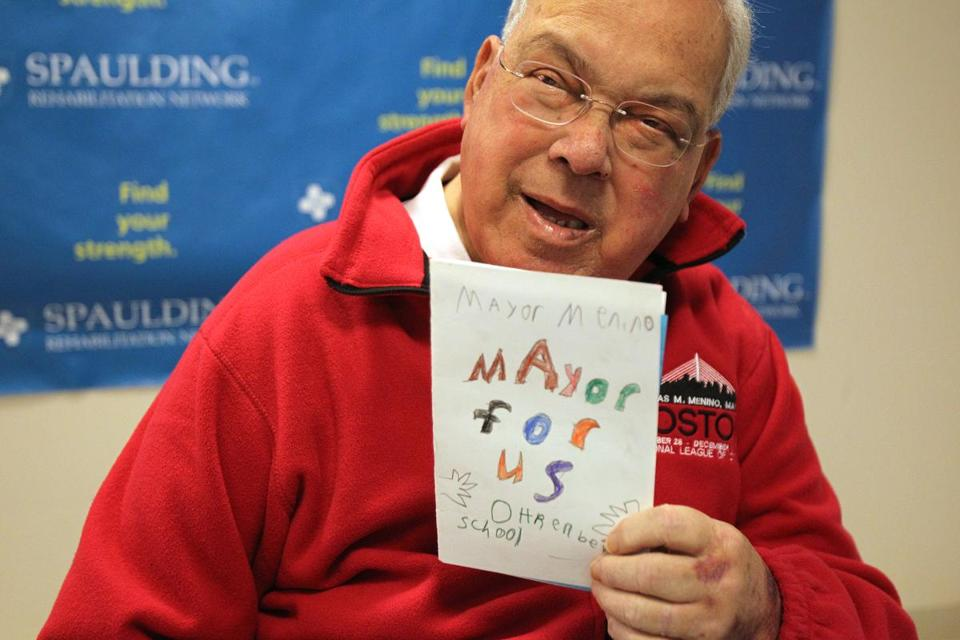 Boston Mayor Thomas Menino recovering medical issues at Spaulding Rehabilitation Hospital.