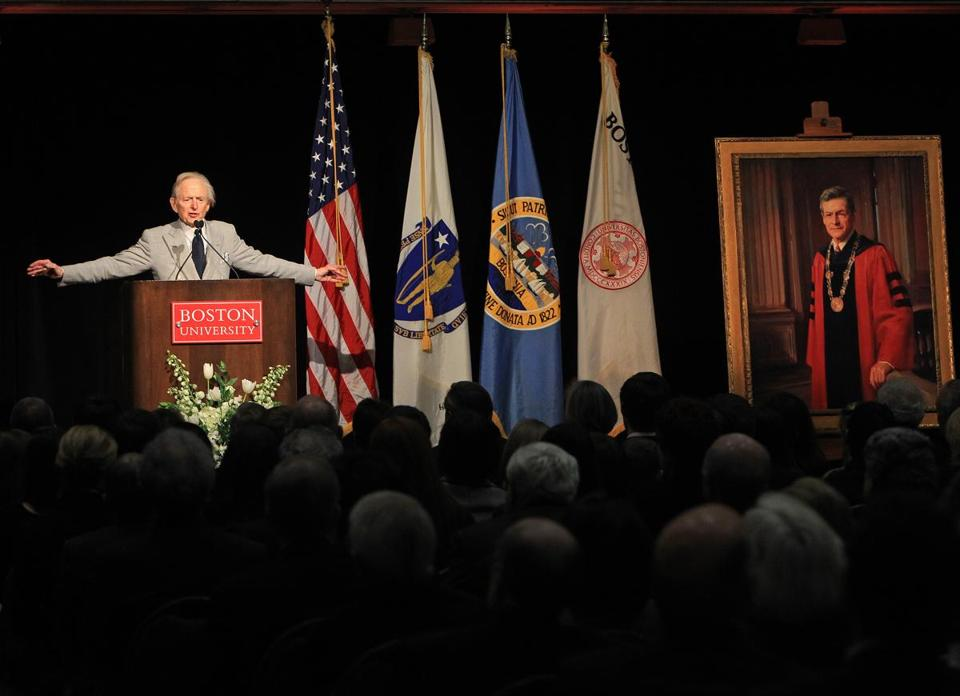 "Tom Wolfe, Novelist, journalist, and commentator spoke his ""Words of Remembrance"" during Thursday's memorial service to honor the memory of longtime BU leader John Silber."