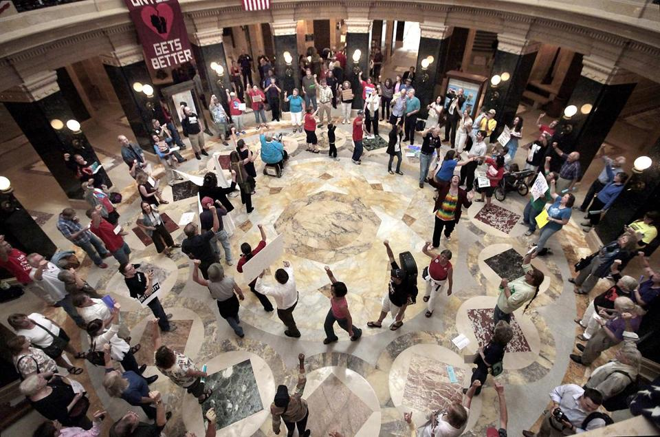 Dozens of singers gathered Sept. 7 in the Wisconsin Capitol's rotunda for the 455th consecutive Solidarity sing along .
