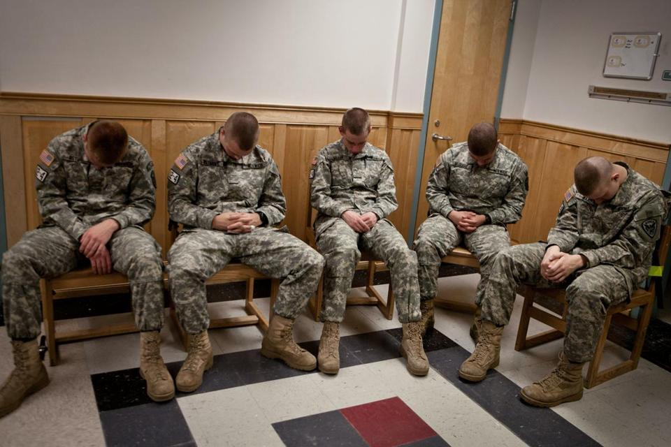 Lance Ostby, RobWetmore, Matt Miller, Aaron McDuffie, and JeremyWard practiced meditation following afternoon classes.