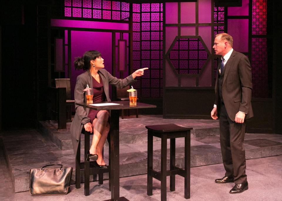 "Celeste Oliva and Barlow Adamson in ""Chinglish"" at Lyric Stage."