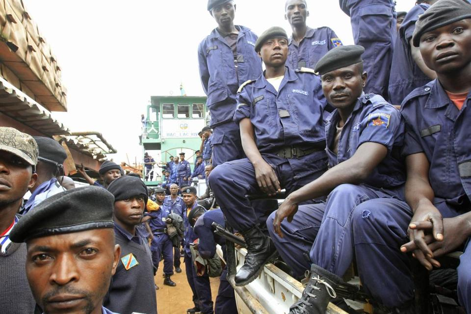 Congolese national police arrived at a port on Lake Kivu in the city of Goma on Friday.