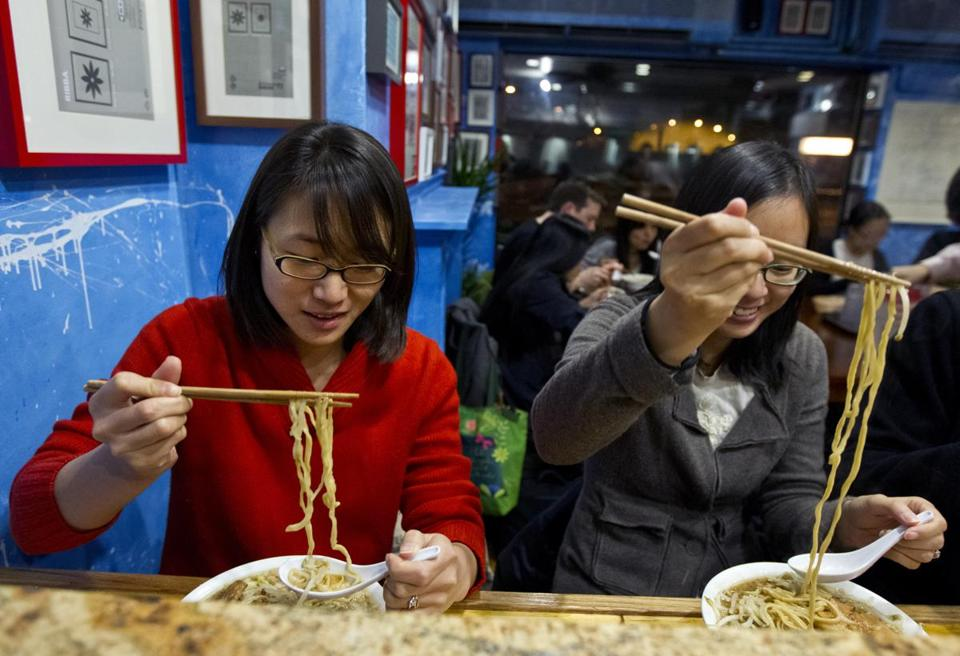 Celene Chang and Jennier Yan enjoy a meal at Yume Wo Katare.