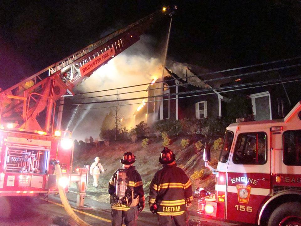 A three-alarm fire destroyed the Cape Cod Bible Alliance Church in Brewster.