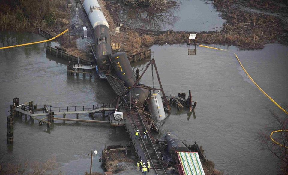 A delicate operation lies ahead to remove the derailed tanker cars from Mantua Creek in Paulsboro, N.J.