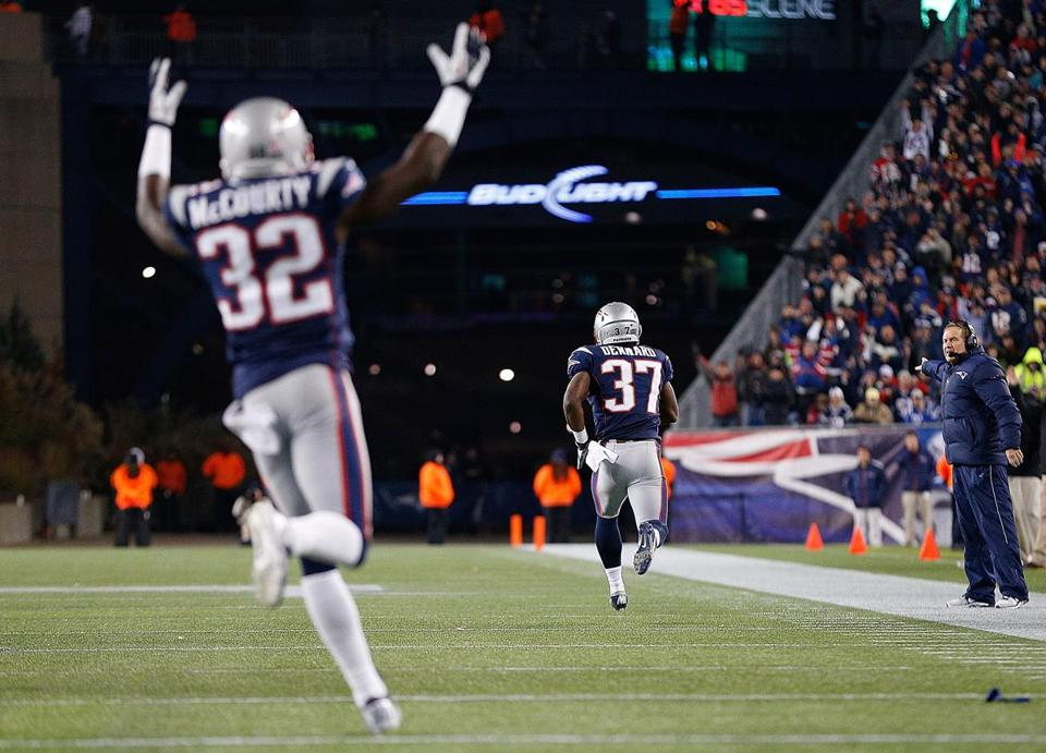 Devin McCourty's touchdown sign signaled another score off a turnover for the Patriots as Alfonzo Dennard returned an interception for a score against the Colts on Nov. 18.