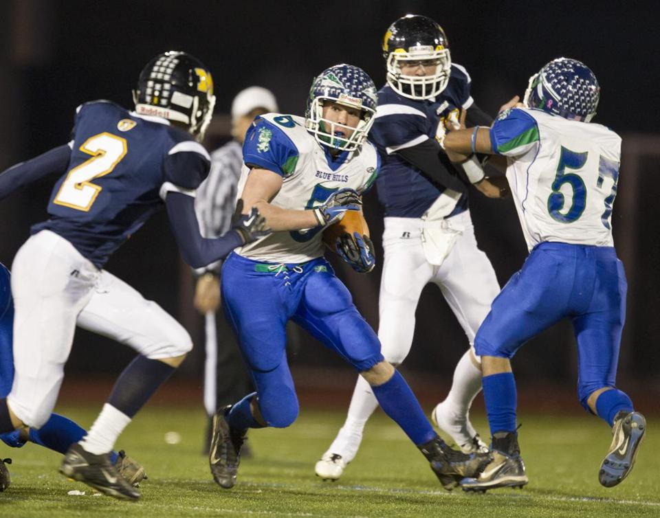 Blue Hills running back Michael Kelly (5) rushed for 80 yards while filling in for injured star Vincent Burton.