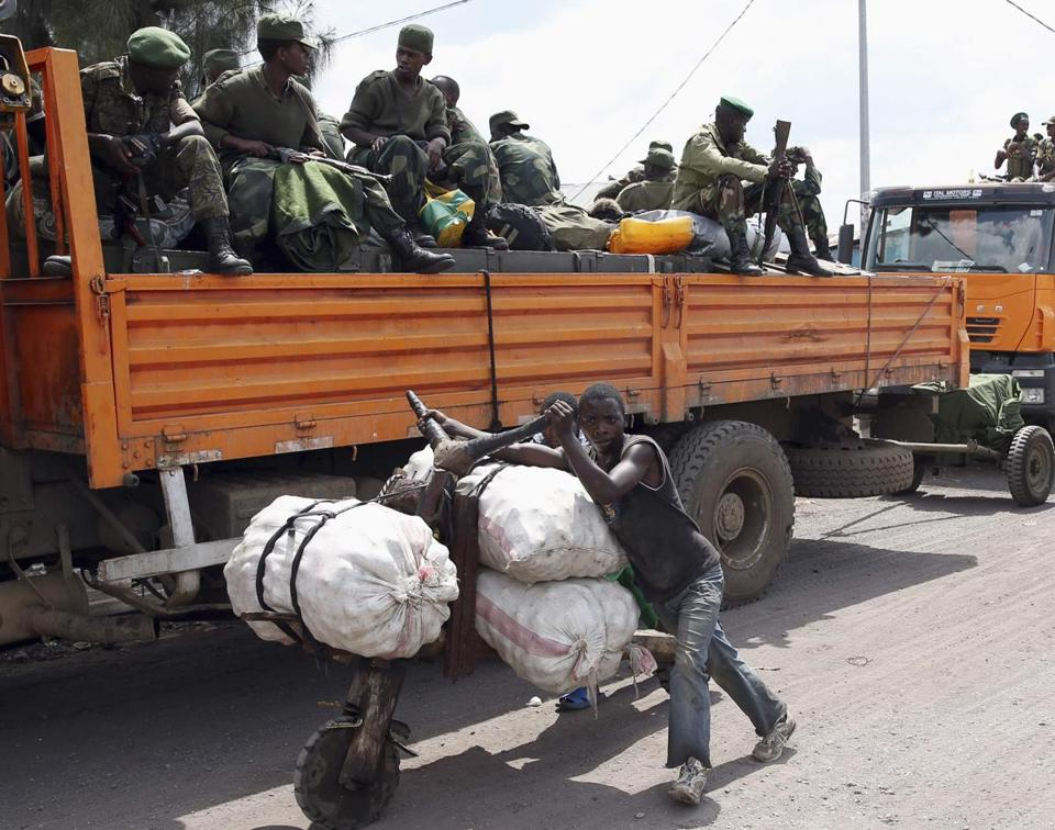 Rebel fighters left the key city of Goma in the Democratic Republic of Congo yesterday. A ''neutral force'' of soldiers from other African countries will help keep the peace.