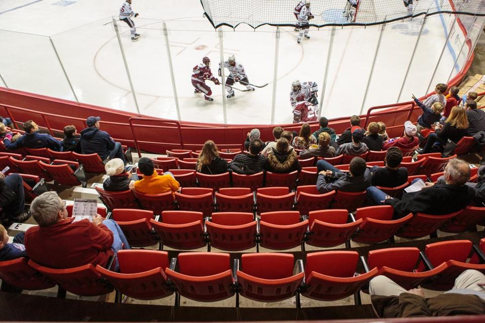 A recent game between UMass and Northeastern University at Matthews Arena. Some local teams are drawing fewer people to rinks.