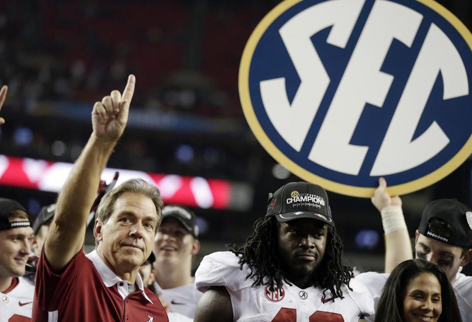 Coach Nick Saban and Alabama are No. 1 in the SEC again, and won a chance to play Notre Dame for the national title by beating Georgia.