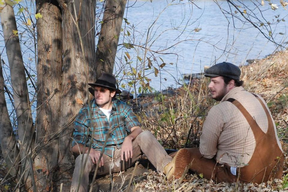 "Phil Tayler (George) and Harry McEnerny (Lennie) star in Moonbox Productions' ""Of Mice and Men."""