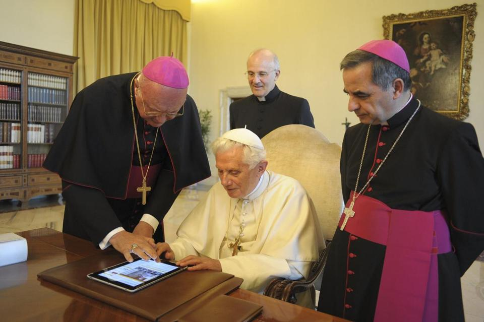 Pope Benedict, 85, seen using an iPad, is expected to send his first post on Twitter at a general audience at the Vatican Dec. 12 — a response to questions about matters of the faith that he is now accepting via the hashtag #askpontifex, officials said.