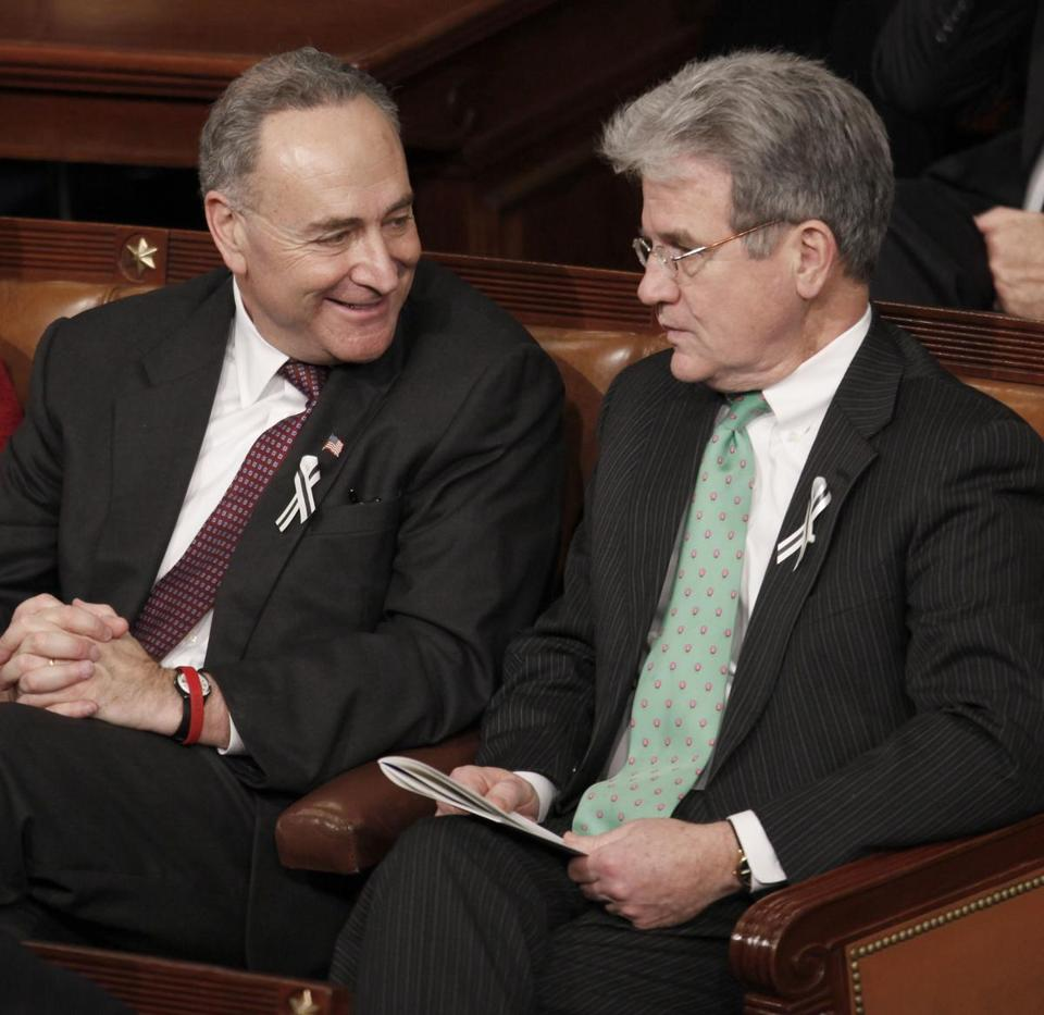 Senator Tom Coburn (right) sought to stop the Veterans Affairs Department from putting the names of veterans deemed incompetent to handle their finances into the National Instant Criminal Background Check System, while Senator Charles Schumer objected, saying the measure would make it easier for veterans with mental illness to own guns, endangering themselves and others.
