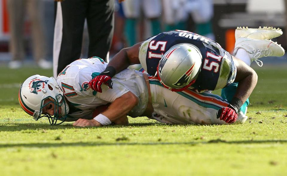 Miami kicked a field goal to make it 20-13 in the fourth quarter, but Jerod Mayo's sack helped preserve a lead of at least a touchdown.