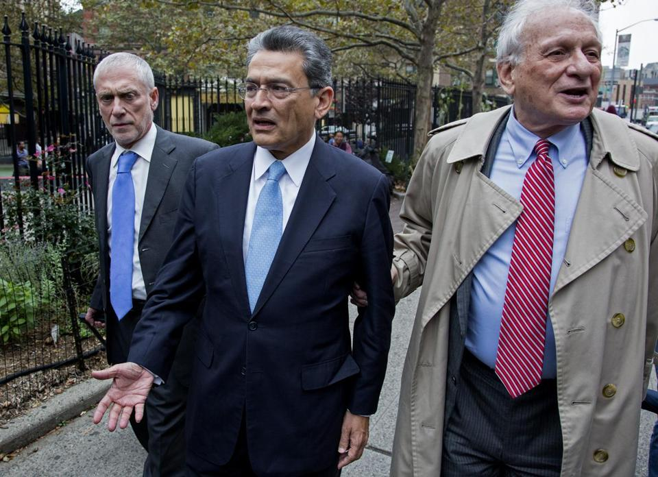 Rajat Gupta (center), former Goldman Sachs and Procter & Gamble board member, arrived outside court in New York.