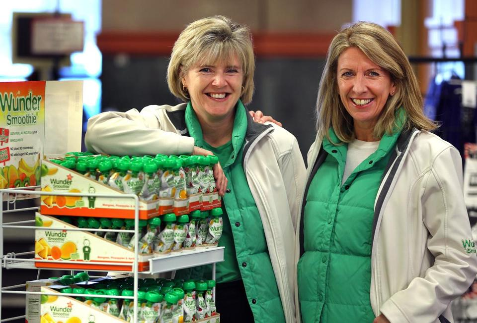 Janice Crean (left) and Lorraine Thomson, founders of WunderSmoothies with a display at Roche Brothers.