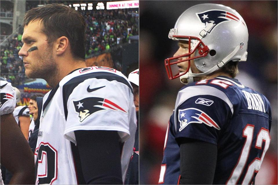 Reebok faces multiple challenges, including the loss of its contract to Nike to supply National Football League apparel. Above, Tom Brady with the Nike logo on his jersey in 2012 (left) and with the Reebok jersey in 2011.