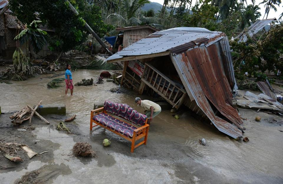 A damaged house in New Bataan, Philippines on Wednesday.