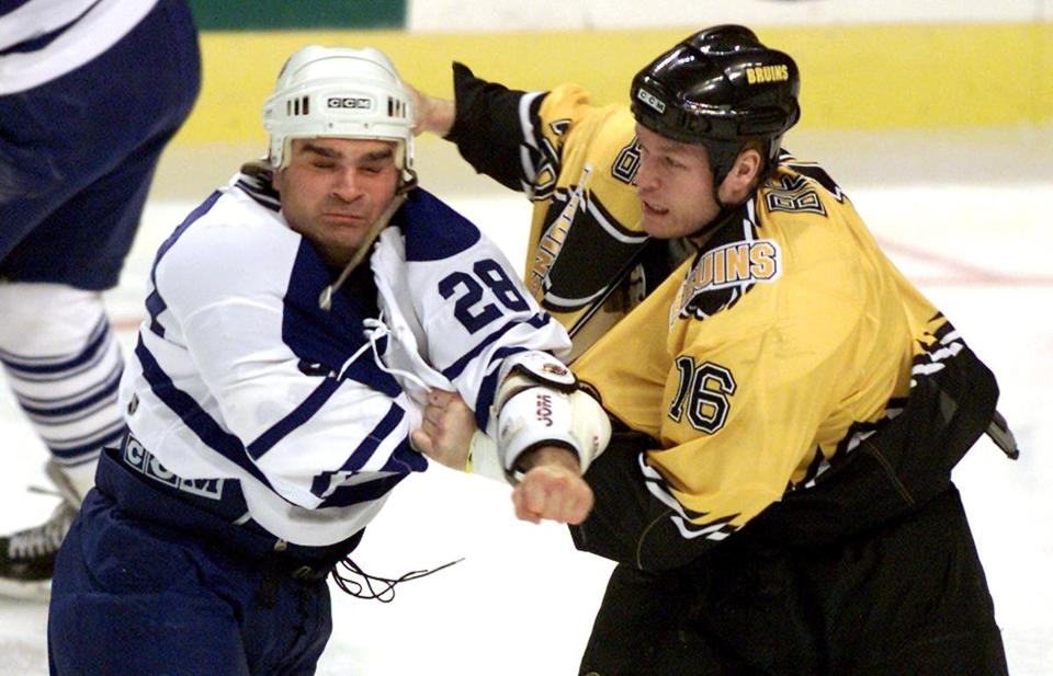 Tie Domi in a fight as a Maple Leaf in 2000.