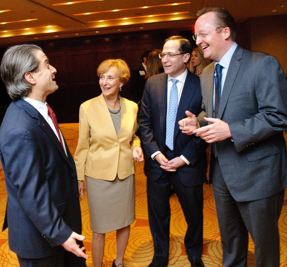 From left: Derrek Shulman, Esta Epstein, Jonathan Lavine, and Robert Gibbs at the ADL fund-raiser at which Lavine was honored.