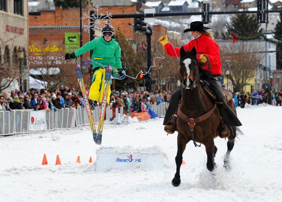 The winter festival in Steamboat Springs, Colo., marks its centennial next month. The children's events include skijoring, with a horse doing the pulling of a young skier, and three-legged races.