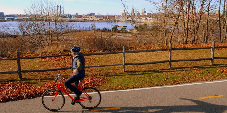 The East Bay Bike Path in East Providence provided nice views of the Providence skyline across the river.