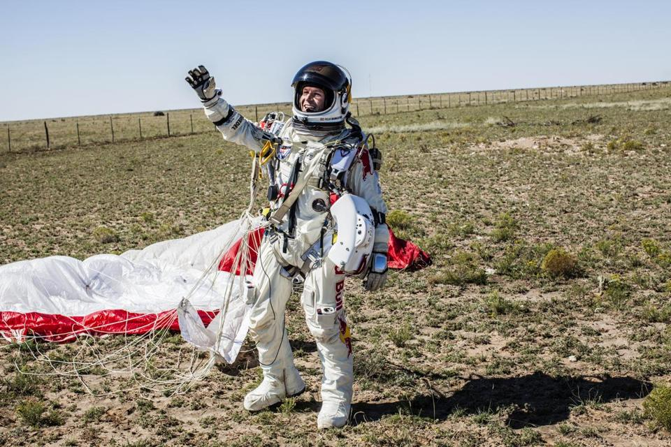 Felix Baumgartner in his improved spacesuit.