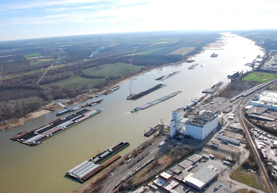 Barges on the Mississippi River are being squeezed because of falling water levels.