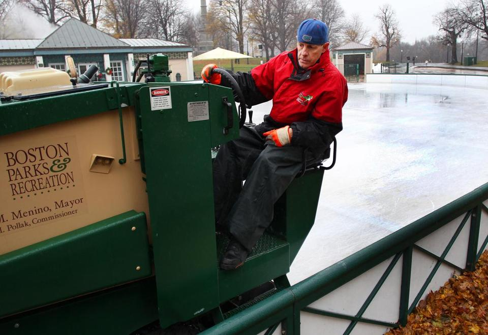 """The slower you go, the better you make ice,"" says Donnie Mooney of his rink-grooming duties."