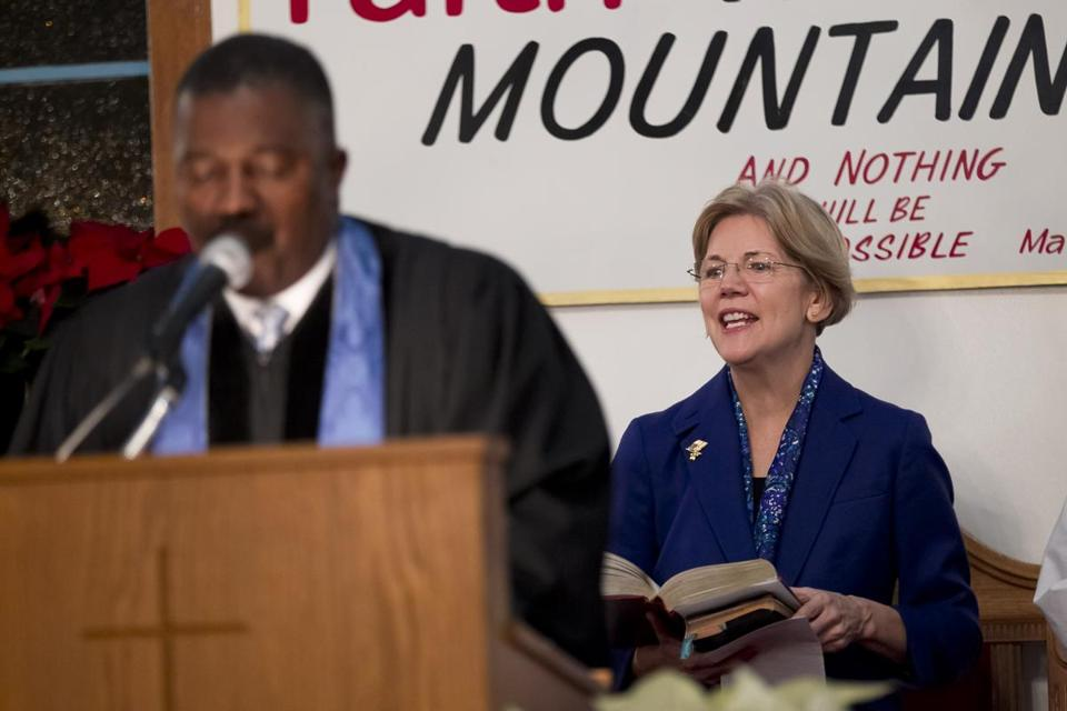 """We prayed for her all along,'' said the Rev. Miniard Culpepper about Senator-elect Elizabeth Warren during an hourlong prayer session service for her Sunday evening at the Pleasant Hill Baptist Church in Dorchester."