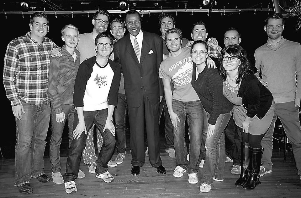 "Former Boston Celtic Jo Jo White appeared with the cast of Improv Asylum's ""No Rest for the Wicked Funny"" during a 24-hour comedy marathon to benefit Globe Santa."