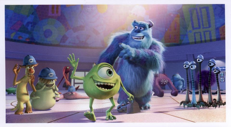 "Billy Crystal gives voice to green monster Mike and John Goodman provides the voice of blue Sulley in ""Monsters, Inc."""