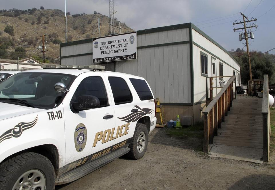 A suspect killed three at Tule Lake Indian Reservation in California, where tribal police headquarters is located.